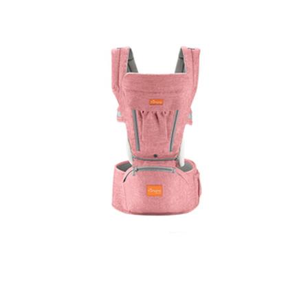 Marsupiu ergonomic 3 in 1 Tumama®,pentru bebelusi, din bumbac organic, 0 – 36 luni, cu scaunel detasabil, roz0