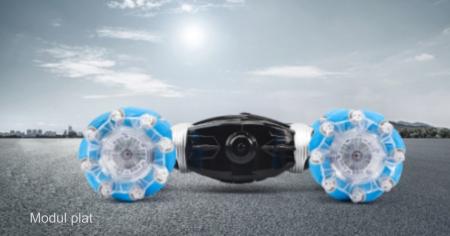Masina cu telecomanda si control inductie Stunt Car, Lumini si Sunet, Cascadorii, Rotire 360ᵒ Frecventa 2.4Ghz, scara 1:16, Smartic®, albastru [7]