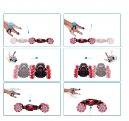 Masina cu telecomanda si control inductie Stunt Car, Lumini si Sunet, Cascadorii, Rotire 360ᵒ Frecventa 2.4Ghz, scara 1:16, Smartic®, rosu9