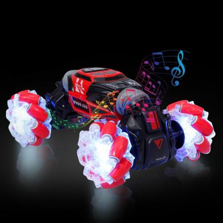 Masina cu telecomanda si control inductie Stunt Car, Lumini si Sunet, Cascadorii, Rotire 360ᵒ Frecventa 2.4Ghz, scara 1:16, Smartic®, rosu3