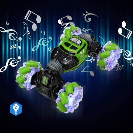 Masina cu telecomanda si control inductie Stunt Car, Lumini si Sunet, Cascadorii, Rotire 360ᵒ Frecventa 2.4Ghz, scara 1:16, Smartic®, verde4