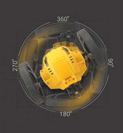 Masina jucarie pentru copii cu telecomanda Jumping Car, Salt 60 cm inaltime, Lumini si Sunet, Rotire 360ᵒ, Control de la Distanta, Frecventa 2.4Ghz, Scara 1:30,  Smartic®, galben [6]