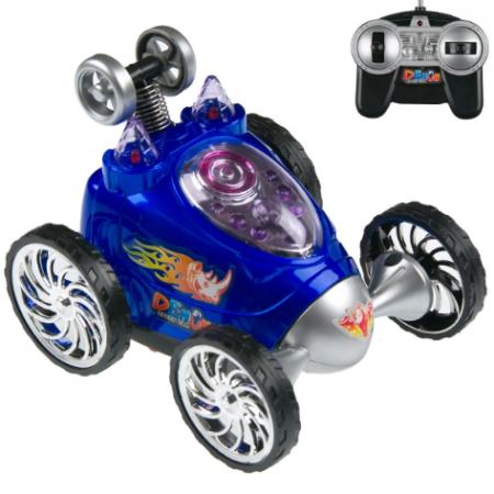 Masina pentru copii cu telecomanda, rotatie 360ᵒ, 6 roti, Smartic, 12x10x9 cm, albastru2