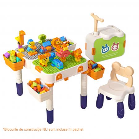 Masuta modulara cu scaunel  2 in 1 pentru copii, cu doua fete,  +3 ani, plastic, Tumama®, multicolor [2]