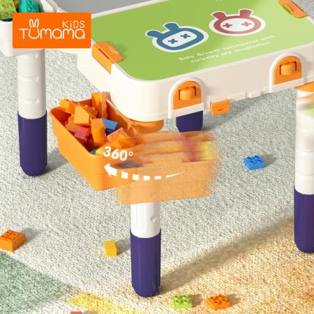 Masuta modulara cu scaunel  2 in 1 pentru copii, cu doua fete,  +3 ani, plastic, Tumama®, multicolor [6]