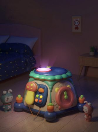 Masuta multiple activitati Tumama®, educationala, 6 laturi interactive de joc, margini rotunjite, sunete si lumini, lampa veghe, multicolor [3]
