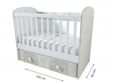 Patut pentru bebelusi cu sistem de leganare, Design Modern, 120x60 cm, Smartic®, alb [4]