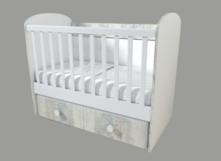 Patut pentru bebelusi cu sistem de leganare, Design Modern, 120x60 cm, Smartic®, alb [3]