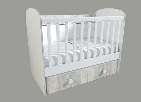 Patut pentru bebelusi cu sistem de leganare, Design Modern, 120x60 cm, Smartic®, alb [2]