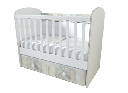 Patut pentru bebelusi cu sistem de leganare, Design Modern, 120x60 cm, Smartic®, alb [1]