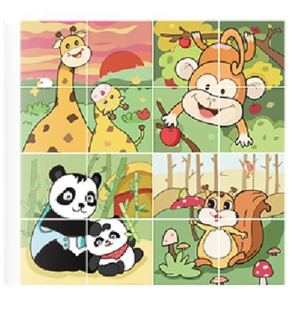Puzzle Educational 2 in 1 Tumama® pentru bebelusi si copii, Material Carton, cu Animale si Masini, Varsta 0-3 ani,  40 piese, multicolor [5]