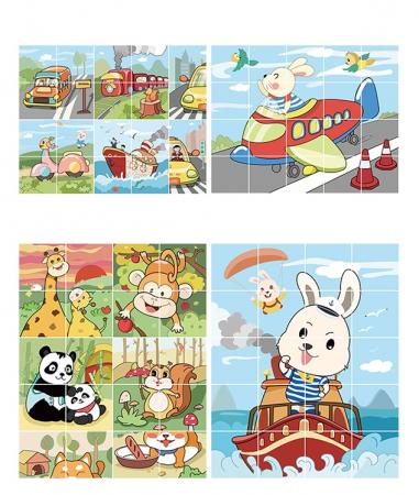 Puzzle Educational 2 in 1 Tumama® pentru bebelusi si copii, Material Carton, cu Animale si Masini, Varsta 0-3 ani,  40 piese, multicolor [0]