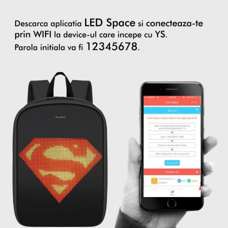 Rucsac Smartic cu ecran LED, negru2