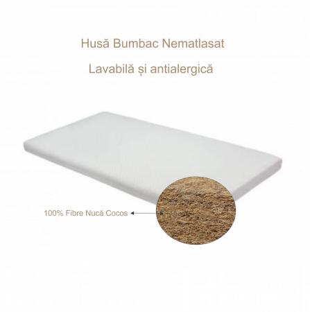 Saltea pentru bebelusi din Cocos Integral, 120x60x6 cm, Husa Bumbac Nematlasat, Antialegica, Husa Lavabila, Alb [3]