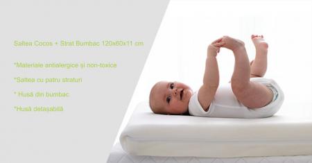 Saltea pentru Bebelusi,  Fibra Cocos+Strat Bumbac 120x60x11 cm, Husa Bumbac Antialergica si Lavabila, cu 2 fete, Alb4