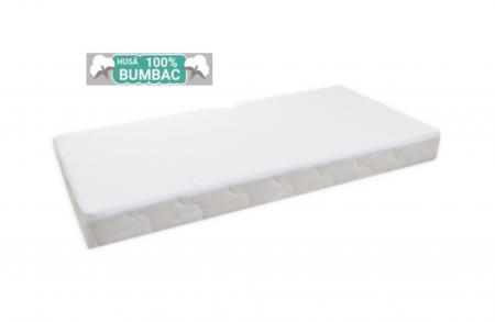 Saltea pentru Bebelusi,  Fibra Cocos+Strat Bumbac 120x60x11 cm, Husa Bumbac Antialergica si Lavabila, cu 2 fete, Alb3