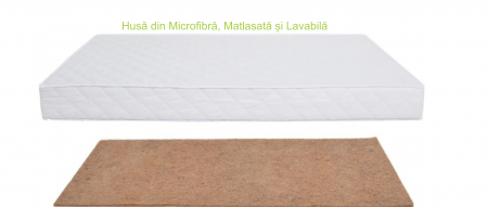 Saltea pentru Bebelusi,  Fibra de Cocos Integral 140x70x10 cm, Husa Microfibra Matlasata, Lavabila si Antialergica, Alb5