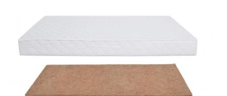 Saltea pentru Bebelusi,  Fibra de Cocos Integral 140x70x8 cm, Husa Microfibra Matlasata, Lavabila si Antialergica, Alb2