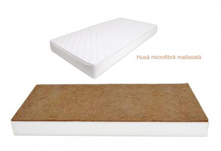 Saltea pentru bebelusi Fibra de Cocos si Burete Poliuretanic, Husa Microfibra Lavabila si Antialergica 110x65x7cm, Alb [4]
