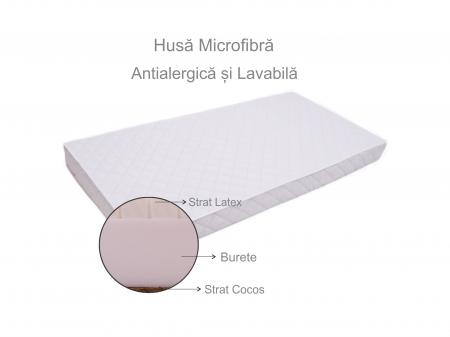 Saltea pentru bebelusi Premium, Fibra Cocos, Latex si Burete, 120x60x12 cm, Reversibila, Materiale Antialergice si Non-Toxice, Husa Microfibra, Alb6