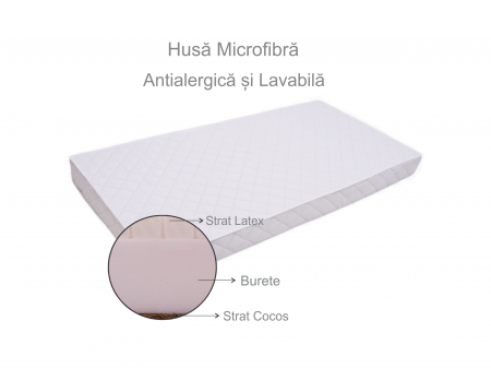 Saltea pentru bebelusi Premium, Fibra Cocos, Latex si Burete, 160x70x12 cm, Reversibila, Materiale Antialergice si Non-Toxice, Husa Microfibra, Alb [6]