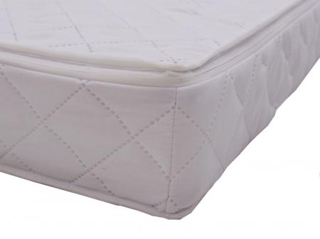 Saltea pentru Bebelusi Somn Usor, 140x70x8 cm, Fibra de Cocos, Husa Antialergica & Lavabila, Alb [4]