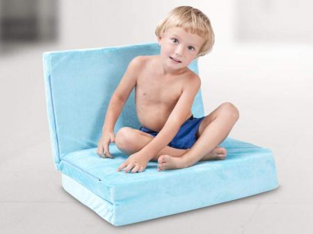 Saltea pliabila pentru copii, Spuma Poliuretanica, Husa 100% Bumbac, Detasabila, 120x60x5 cm, Albastru [8]