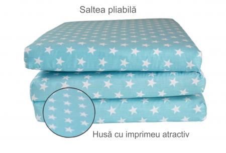 Saltea pliabila pentru copii, Spuma Poliuretanica, Husa 100% Bumbac, Detasabila, 120x60x5 cm, Albastru [4]