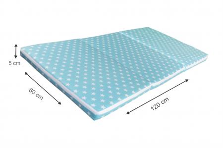 Saltea pliabila pentru copii, Spuma Poliuretanica, Husa 100% Bumbac, Detasabila, 120x60x5 cm, Albastru [6]