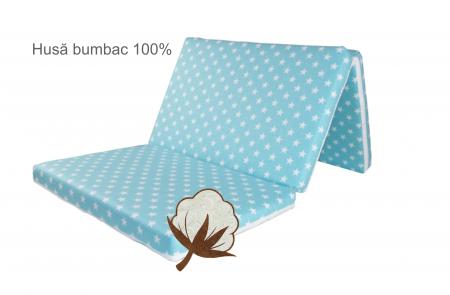 Saltea pliabila pentru copii, Spuma Poliuretanica, Husa 100% Bumbac, Detasabila, 120x60x5 cm, Albastru [5]