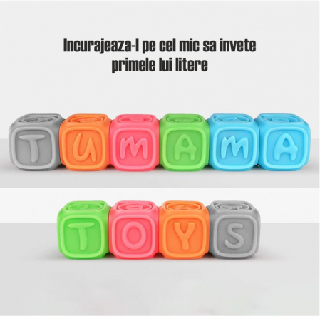Set 10 cuburi educative din silicon Tumama®, cu modele 3D, pentru dentitia copiilor, multicolor5
