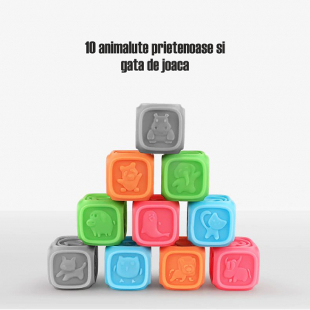 Set 10 cuburi educative din silicon Tumama®, cu modele 3D, pentru dentitia copiilor, multicolor1