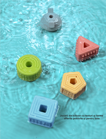 Set 18 piese forme geometrice din silicon, cu snur, +3 ani, fara BPA, Tumama®, multicolor [8]
