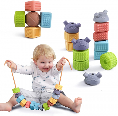 Set 18 piese forme geometrice din silicon, cu snur, +3 ani, fara BPA, Tumama®, multicolor [4]
