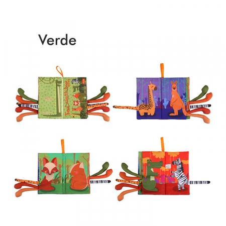 Set 2 carti fosnitoare Animal's Tails, 6 animalute colorate, pentru dentitia copiilor si a bebelusilor, Tumama®, galben si verde3