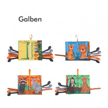 Set 2 carti fosnitoare Animal's Tails, 6 animalute colorate, pentru dentitia copiilor si a bebelusilor, Tumama®, galben si verde2