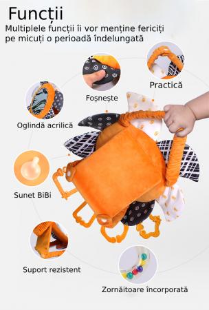 Set 2 jucarii zornaitoare pentru copii si bebelusi, cu oglinzi acrilice, +0 luni, Tumama®, alb/negru [8]