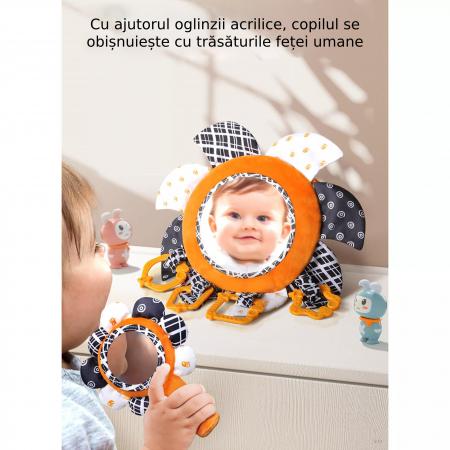 Set 2 jucarii zornaitoare pentru copii si bebelusi, cu oglinzi acrilice, +0 luni, Tumama®, alb/negru [7]