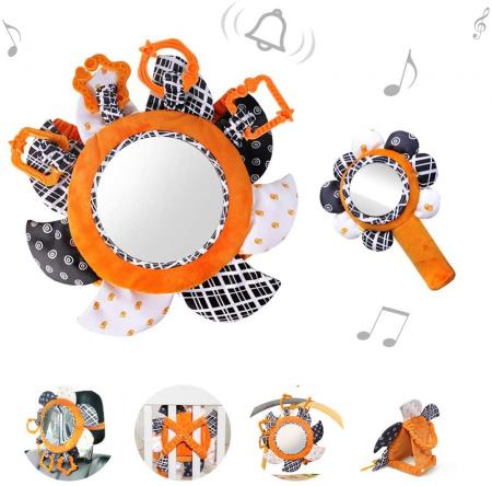 Set 2 jucarii zornaitoare pentru copii si bebelusi, cu oglinzi acrilice, +0 luni, Tumama®, alb/negru [1]
