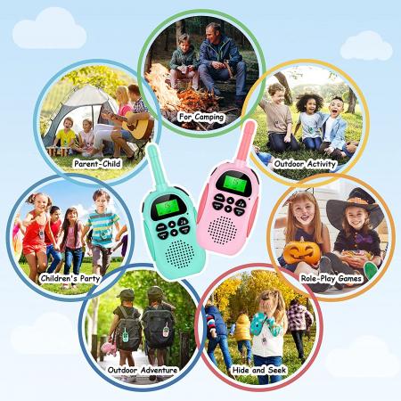 Set 2 statii Walkie Talkies pentru copii, Antena si Lanterna, Raza de Actiune 3 km, functia VOX, Plastic, Varsta Recomandata +3 ani, Smartic®, albastru/roz [8]
