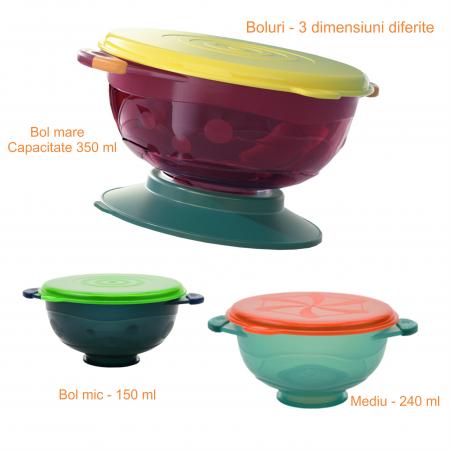 Set 3 boluri cu ventuza pentru bebelusi, dimensiuni diferite, fara BPA, +6 luni, Tumama®, multicolor [8]