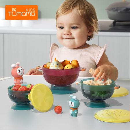 Set 3 boluri cu ventuza pentru bebelusi, dimensiuni diferite, fara BPA, +6 luni, Tumama®, multicolor [1]