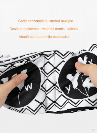 Set 3 Carti Fosnitoare, Educationale, Ilustratii Litere, Vehicule, Fructe, pentru dentitia bebelusilor, + 3 luni, Tumama®, alb/negru [9]