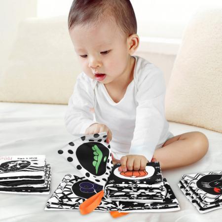 Set 4 Carti Fosnitoare, Educationale, pentru dentitia bebelusilor, Ilustratii Animale, Fructe, Legume, Animale Marine, + 3 luni, Tumama®, alb/negru [1]