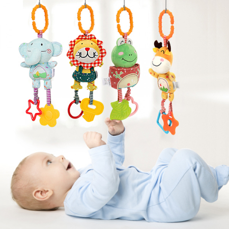 Set 4 Jucarii Agatatoare din Plus, pentru Bebelusi si Copii, Model Animale, Varsta +0 luni, Tumama®, multicolor [2]