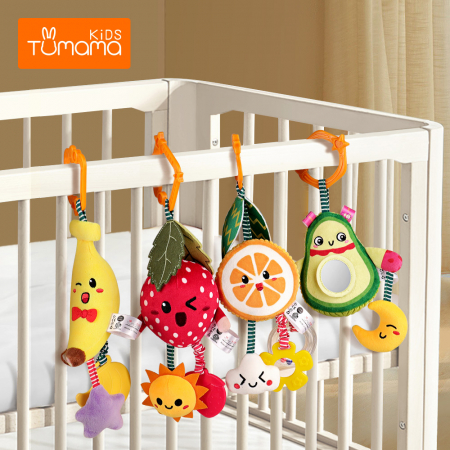 Set 4 jucarii din plus pentru bebelusi si copii, agatatoare, model fructe, Tumama®, multicolor [1]