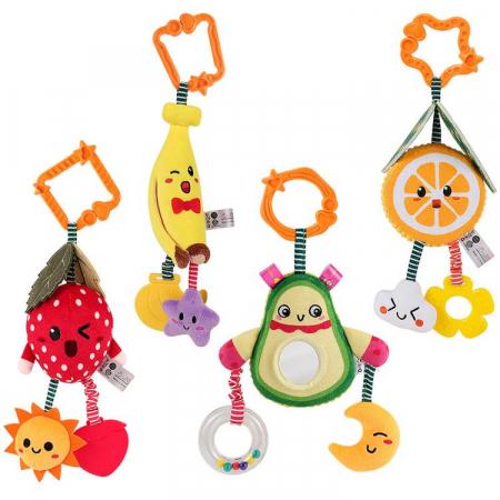 Set 4 jucarii din plus pentru bebelusi si copii, agatatoare, model fructe, Tumama®, multicolor [0]