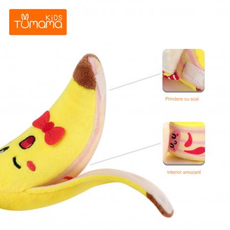 Set 4 jucarii din plus pentru bebelusi si copii, agatatoare, model fructe, Tumama®, multicolor [4]