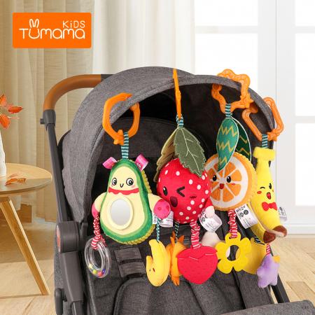 Set 4 jucarii din plus pentru bebelusi si copii, agatatoare, model fructe, Tumama®, multicolor [2]