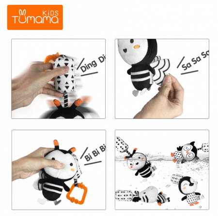 Set 4 jucarii interactive, zornaitoare, agatatoare, Design Animale, varsta +0 luni, Tumama®, alb/negru [4]